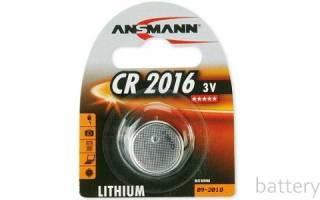 Характеристики батарейки CR2016