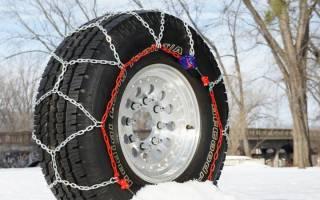 Каким образом надевать авто цепи на колеса?
